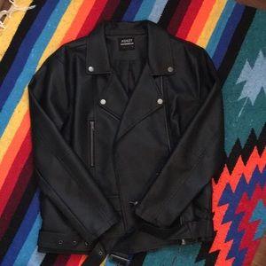 Oversized vegan leather moto jacket